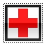 Idéogramme annonçant la présence d'un hôpital. Une croix de couleur rouge indique que cet hôpital assure les urgence.