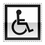 Idéogramme indiquant une installation accessible aux personnes handicapées.
