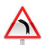 Panneau de danger indiquant un virage à gauche