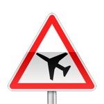 Panneau de danger annonçant la traversée d'une aire de danger aérien