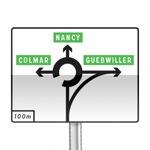 Panneau de direction de pré-signalisation diagrammatique à sens giratoire