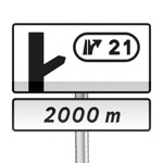 Panneau de direction d'avertissement de sortie simple