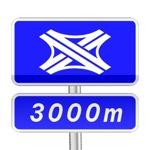 Panneau de direction de pré-signalisation complémentaire de bifurcation autoroutière ne comportant pas de numéros d'autoroutes