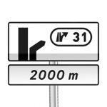 Panneau de direction d'avertissement de sortie avec affectation des voies