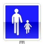 Aire piétonne. Ce signal délimite le début d'une zone affectée à la circulation des piétons et des cyclistes roulant à l'allure du pas, à l'intérieur du périmètre de laquelle la circulation et le stationnement des véhicules automobiles sont réglementés