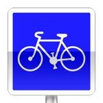 Piste ou bande cyclable conseillée et réservée aux cycles à deux ou trois roues. Ce signal indique que l'accès à une piste ou à une bande cyclable est conseillé et réservé aux cycles à deux ou trois roues et indique aux piétons et aux conducteurs des autres véhicules qu'ils n'ont pas le droit d'emprunter cet aménagement ni de s'y arrêter