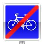 Fin d'une piste ou d'une bande cyclable conseillée et réservée aux cycles à deux ou trois roues