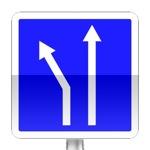 Voies affectées. Le panneaux indique les voies affectées à l'approche d'une intersection