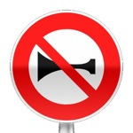Panneau d'interdiction d'utiliser les signaux sonores