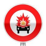 Panneau d'interdiction d'accéder aux véhicules transportant des marchandises explosives ou inflammables