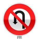 Panneau d'interdiction de faire demi-tour jusqu'à la prochaine intersection