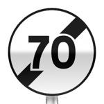 Panneau de fin de limitation de vitesse