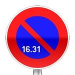 Panneau d'interdiction de stationner du 16 à la fin du mois