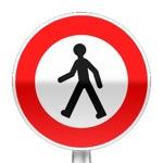 Panneau d'interdiction d'accès aux piétons