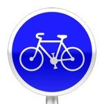 Panneau d'obligation de prendre la piste ou bande cyclable pour les cycles sans side car ni remorque