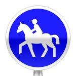 Panneau d'obligation de prendre le chemin pour les cavaliers
