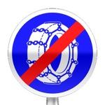 Panneau de fin d'obligation, fin d'obligation de l'usage des chaînes à neige