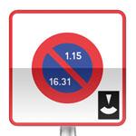 Panneau prescription zone, entrée d'une zone de stationnement unilatéral à alternance semi-mensuelle et à durée limité avec contrôle par disque