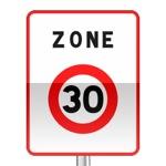 Panneau prescription zone, entrée d'une zone à vitesse limitée à 30 km/h