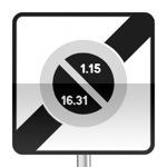 Panneau prescription zone, sortie d'une zone à stationnement unilatéral à alternance semi-mensuelle