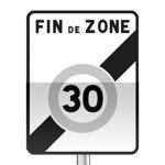 Panneau prescription zone, sortie d'une zone à vitesse limitée à 30 km/h