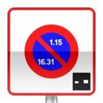 Panneau prescription zone, entrée d'une zone à stationnement unilatéral à alternance semi-mensuelle et à durée limitée