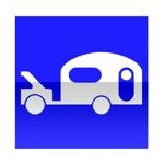 Symbole de direction conseillée aux véhicule tractant une caravane ou remorque de plus de 250 kg tel que le poids total roulant, véhicule plus caravane ou remorque ne dépasse pas 3,5t