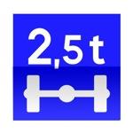 Symbole de direction conseillée aux véhicules pesant sur un essieu plus que le nombre indiqué