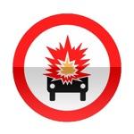 Symbole de signalisation avancée d'une direction interdite aux véhicules transportant des marchandises explosives ou facilement inflammables