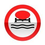 Symbole de signalisation avancée d'une direction interdite aux véhicules transportant des marchandises de nature à polluer les eaux
