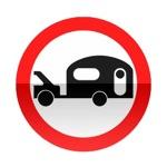 Symbole de signalisation avancée d'une direction interdite aux véhicules tractant une caravane ou remorque de plus de 250 kg tel que le poids total roulant autorisé, véhicule plus caravane ou remorque ne dépasse pas 3,5t