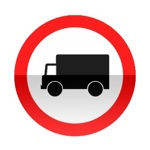 Symbole de signalisation avancée d'une direction interdite aux véhicules affectés au transport de marchandises