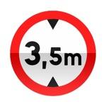 Symbole de signalisation avancée d'une direction interdite aux véhicules dont la hauteur, chargement compris, est supérieure au nombre indiqué