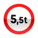 Symbole de signalisation avancée d'une direction interdite aux véhicules, véhicules articulés, trains doubles ou ensemble de véhicules dont le poids total autorisé en charge ou le poids total roulant autorisé excède le nombre indiqué