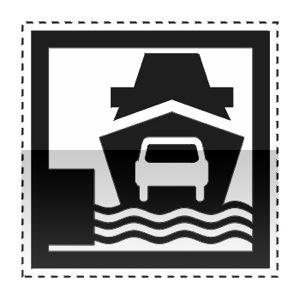 Idéogramme indiquant un embarcadère pour BAC ou car-ferry