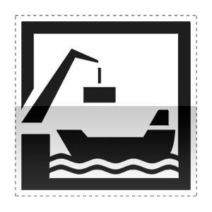 Idéogramme indiquant un port de commerce dont le trafic annuel de marchandise est supérieur à 20 000t