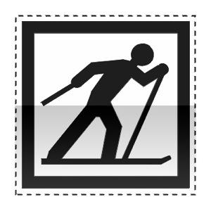 Idéogramme annonçant un point de départ d'un circuit de ski de fond