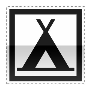 Idéogramme indiquant un terrain de camping pour tentes