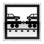 Idéogramme indiquant une gare de trains autos