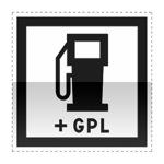Idéogramme indiquant une station essence qui assure aussi le ravitaillement de GPL ouverte 7/7j et 24/24h