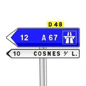 signalisation routi re panneaux de direction d21a r visez le code de la route sur. Black Bedroom Furniture Sets. Home Design Ideas