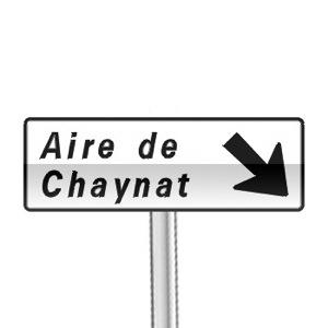 Panneau de direction, signalement avancé d'une aire sur route