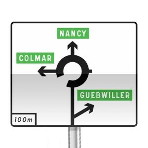signalisation routi re panneaux de direction d42b r visez le code de la route sur. Black Bedroom Furniture Sets. Home Design Ideas