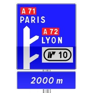 signalisation routi re panneaux de direction d52c r visez le code de la route sur. Black Bedroom Furniture Sets. Home Design Ideas