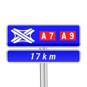 Panneau de direction de confirmation courante de bifurcation autoroutière
