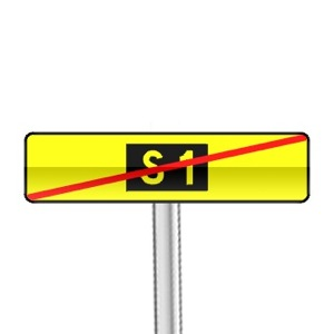 Panneau de direction annonce la fin d'un itinéraire S