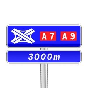 Panneau de direction de pré-signalisation complémentaire de bifurcation autoroutière comportant des numéros d'autoroutes