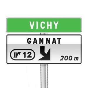 Panneau de direction de pré-signalisation d'affectation de voies de sortie numérotée