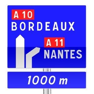 signalisation routi re panneaux de direction da52 r visez le code de la route sur. Black Bedroom Furniture Sets. Home Design Ideas