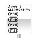 Panneau de direction de signalisation complémentaire des différentes sorties desservant une agglomération